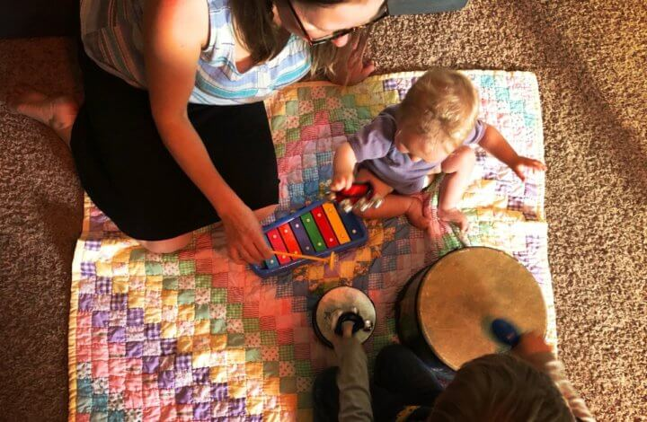 a family enjoys music activities for kids