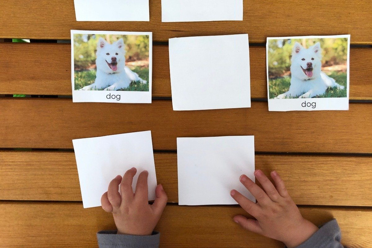 a child plays a farm animal memory with farm animal picture cards